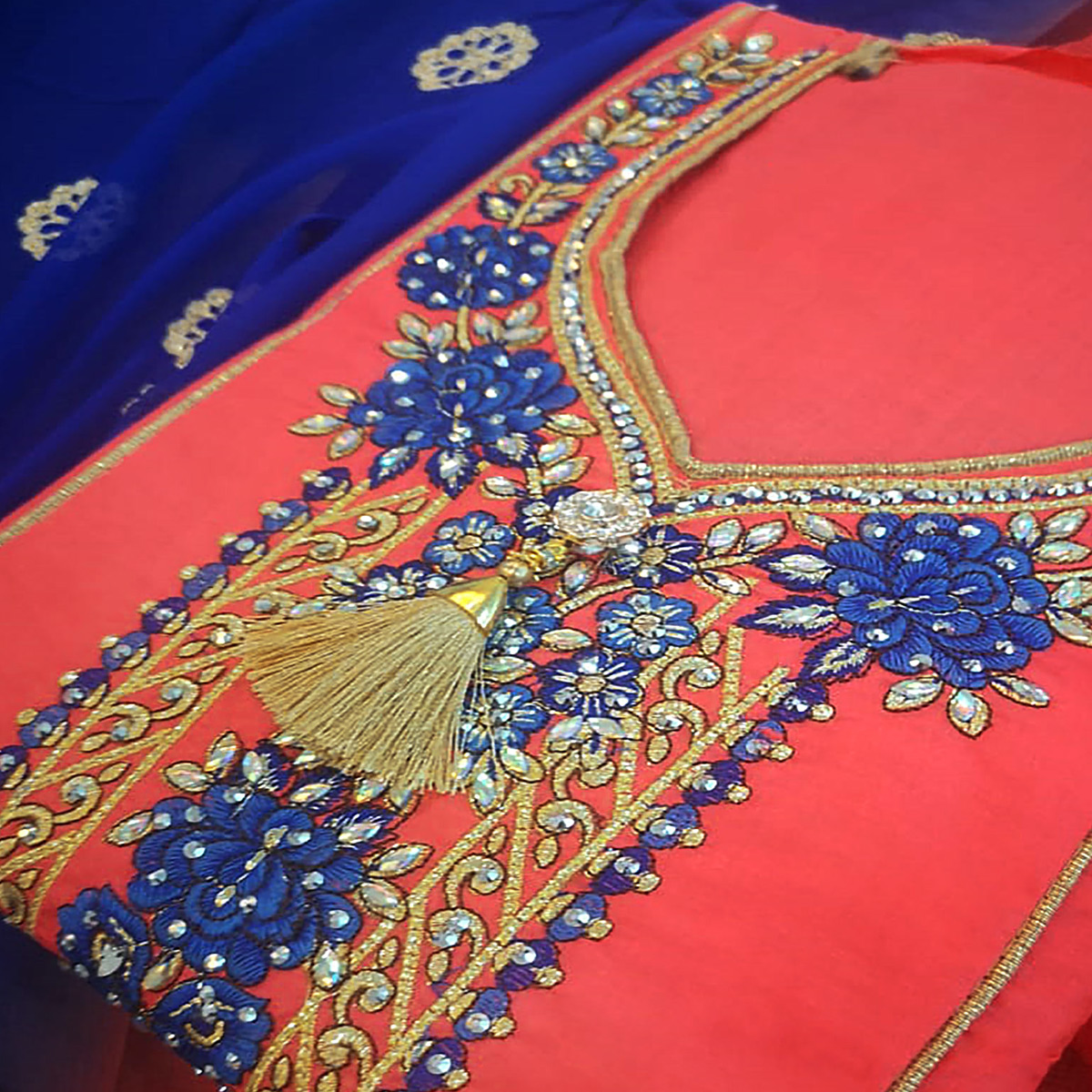 Jazzy Gajri Colored Partywear Embroidered Cotton Dress Material