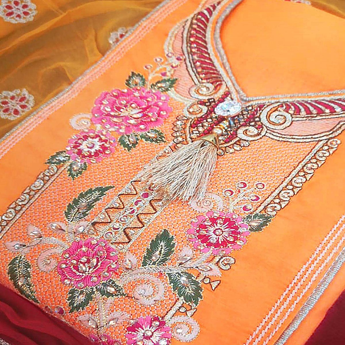 Delightful Yellow Colored Partywear Embroidered Cotton Dress Material