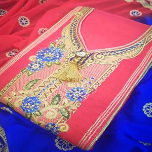 Captivating Pink Colored Partywear Embroidered Cotton Dress Material