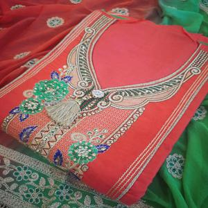 Innovative Gajri Colored Partywear Embroidered Cotton Dress Material