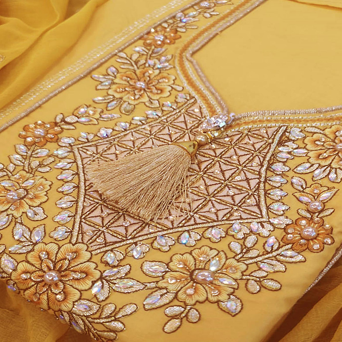 Fantastic Yellow Colored Partywear Embroidered Cotton Dress Material
