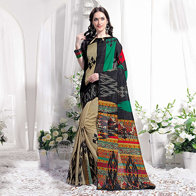 Beige Casual Wear Printed Bhagalpuri Silk Saree