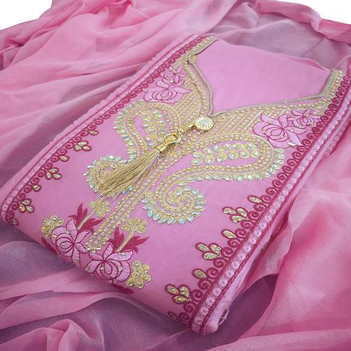 Ideal Pink Colored Partywear Embroidered Cotton Dress Material