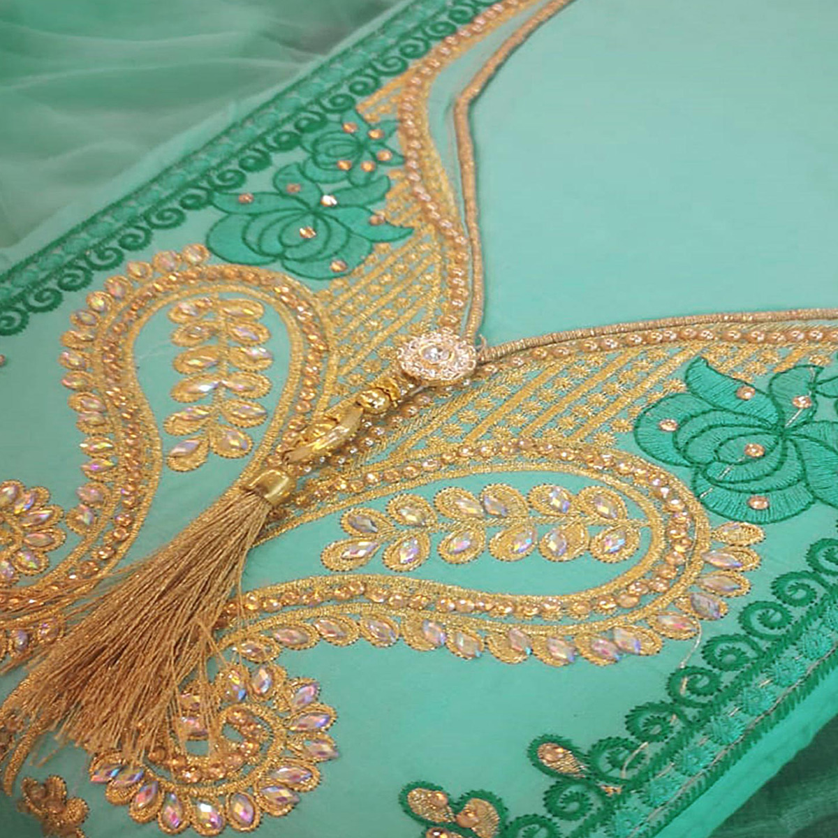 Imposing Aqua Green Colored Partywear Embroidered Cotton Dress Material