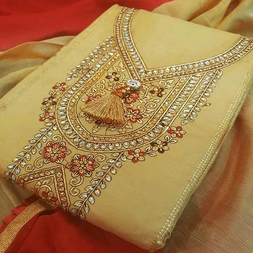 Majesty Beige-Red Colored Partywear Embroidered Cotton Dress Material