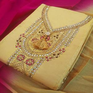 Mesmerising Beige-Pink Colored Partywear Embroidered Cotton Dress Material