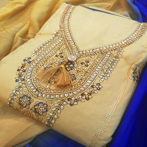Pleasance Beige-Blue Colored Partywear Embroidered Cotton Dress Material