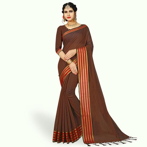 Fantastic Brown Colored Festive Wear Woven Chanderi Silk Saree