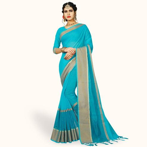 Amazing Sky Blue Colored Festive Wear Woven Chanderi Silk Saree