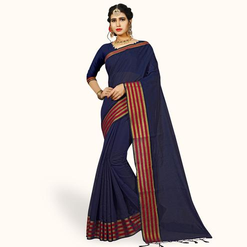 Gorgeous Navy Blue Colored Festive Wear Woven Chanderi Silk Saree
