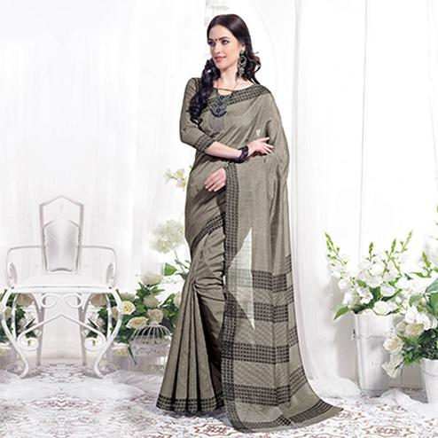 Dark Gray Casual Wear Printed Bhagalpuri Silk Saree