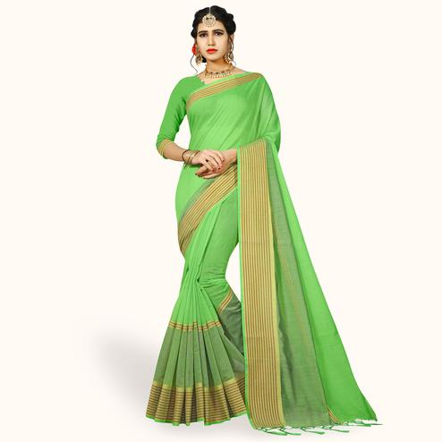 Blissful Green Colored Festive Wear Woven Chanderi Silk Saree