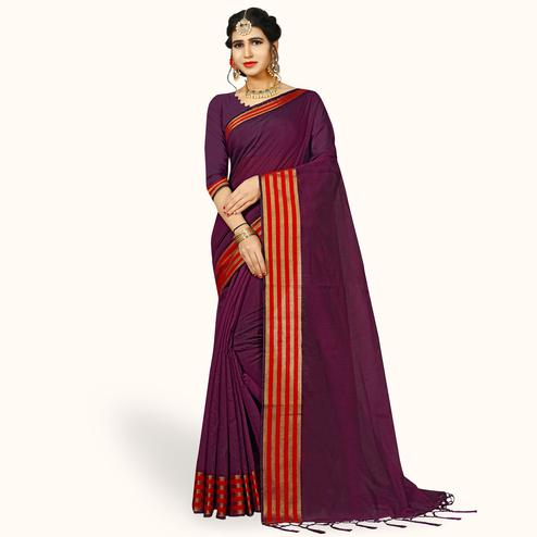 Ideal Purple Colored Festive Wear Woven Chanderi Silk Saree