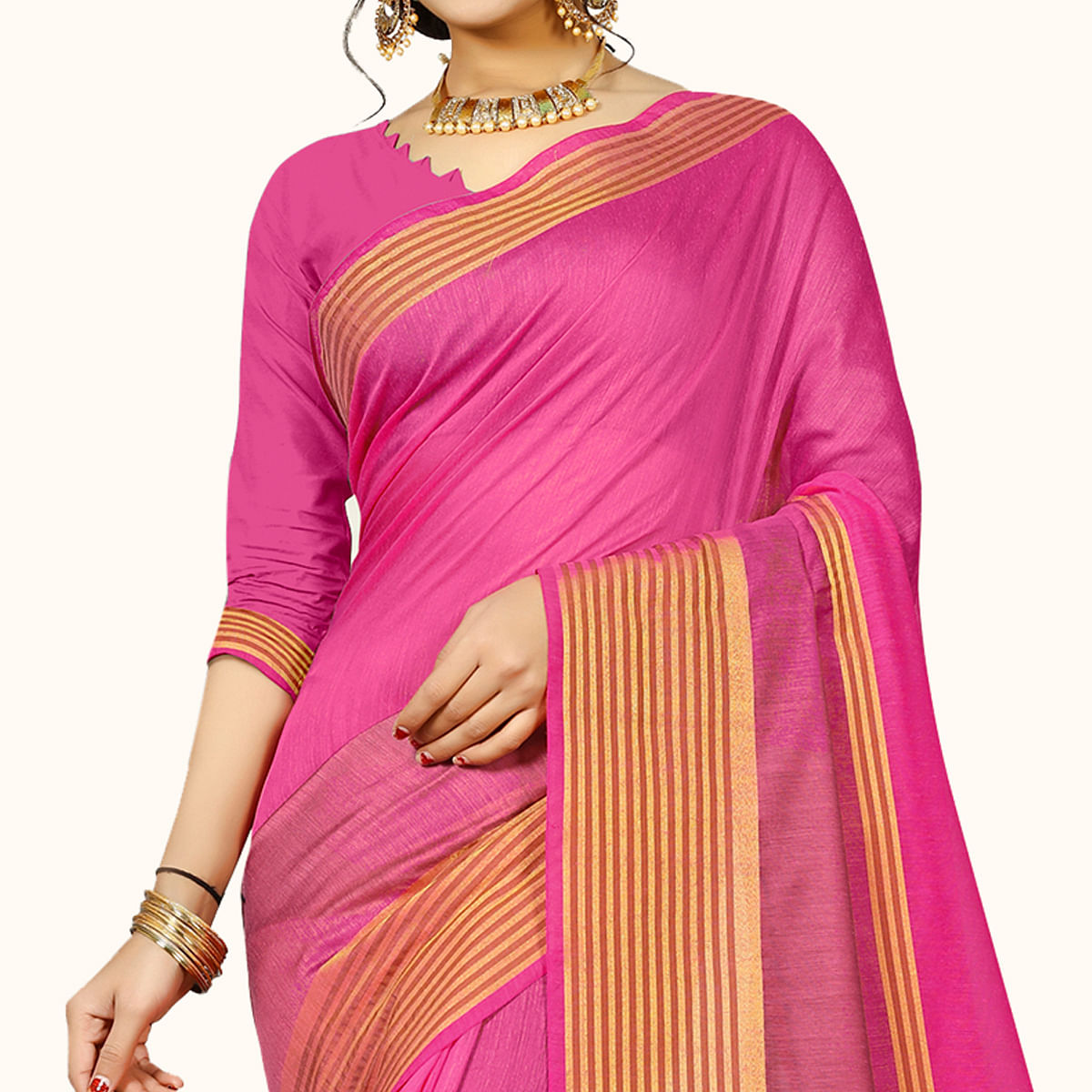 Imposing Pink Colored Festive Wear Woven Chanderi Silk Saree