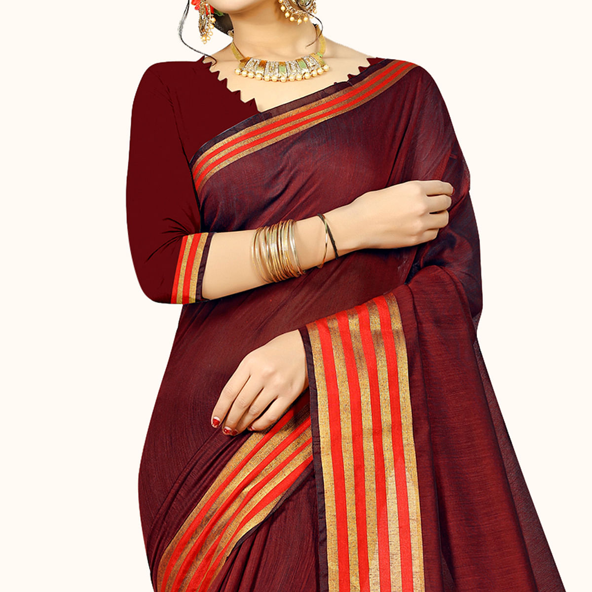 Lovely Maroon Colored Festive Wear Woven Chanderi Silk Saree