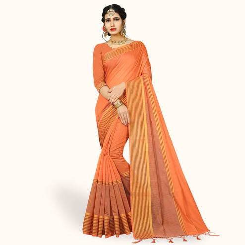 Majesty Peach Colored Festive Wear Woven Chanderi Silk Saree