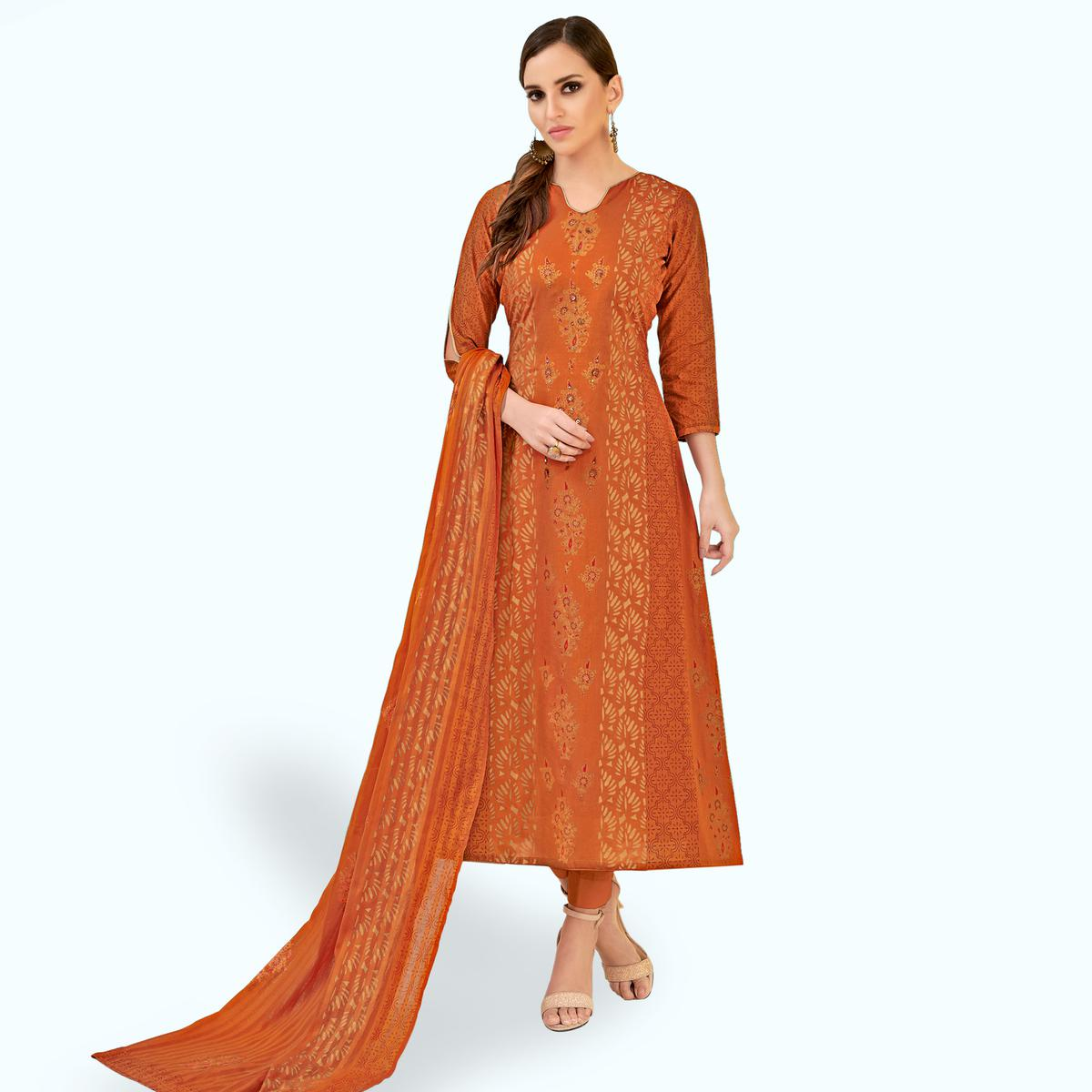 Gorgeous Orange Colored Party Wear Printed Cotton Dress Material