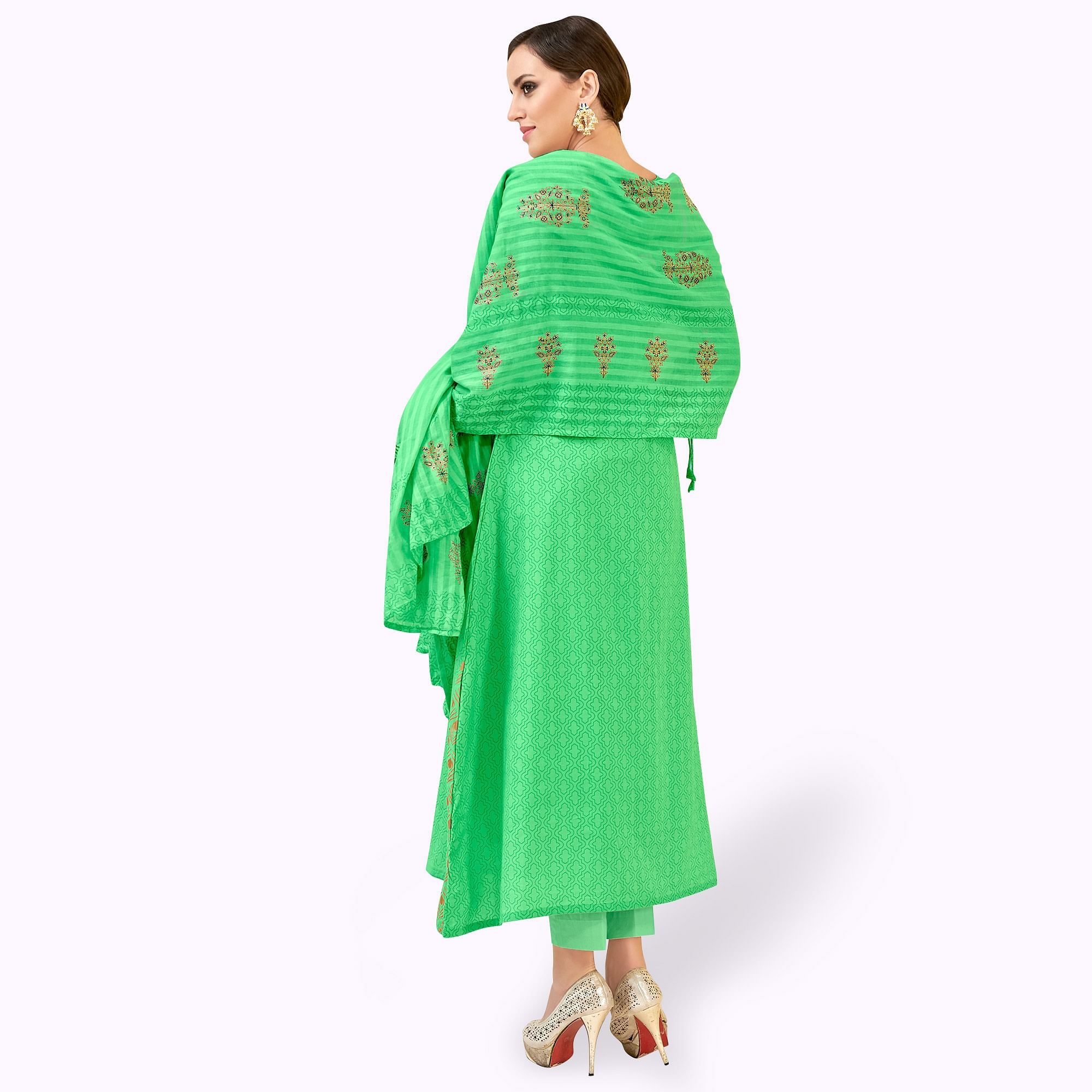 Blissful Green Colored Party Wear Printed Cotton Dress Material