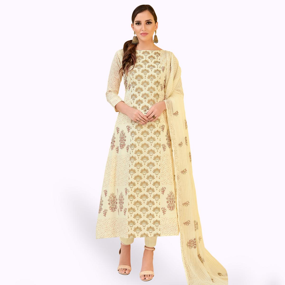 Lovely Cream Colored Party Wear Printed Cotton Dress Material