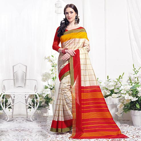 Off-White Casual Wear Printed Bhagalpuri Silk Saree