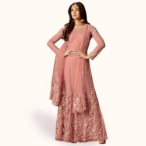 Fantastic Mauve Colored Party Wear Embroidered Net Anarkali Suit