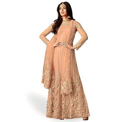 Hypnotic Light Peach Colored Party Wear Embroidered Net Anarkali suit