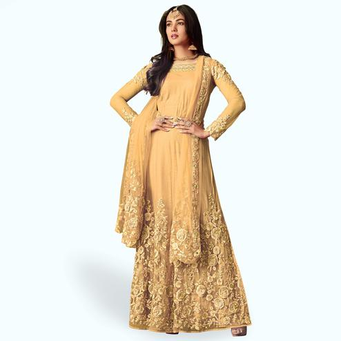 Trendy Cream  Colored Party Wear Embroidered Net Anarkali Suit