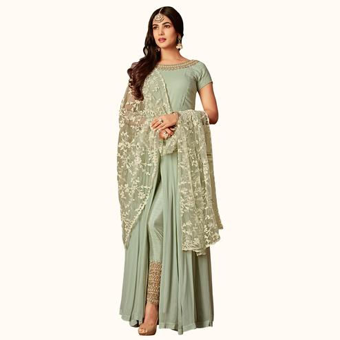 Glorious Pastel Green Colored Partywear Embroidered Georgette Anarkali Suit