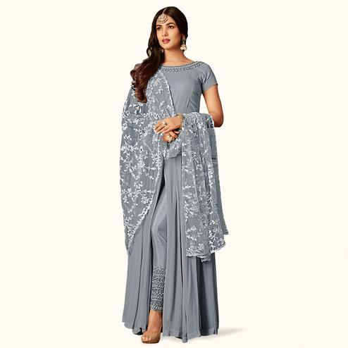 Attractive Gray Colored Partywear Embroidered Georgette Anarkali Suit