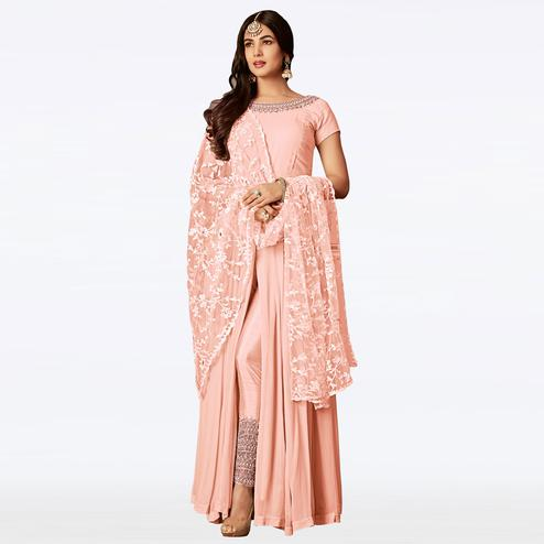 Prominent Pink Colored Partywear Embroidered Georgette Anarkali Suit