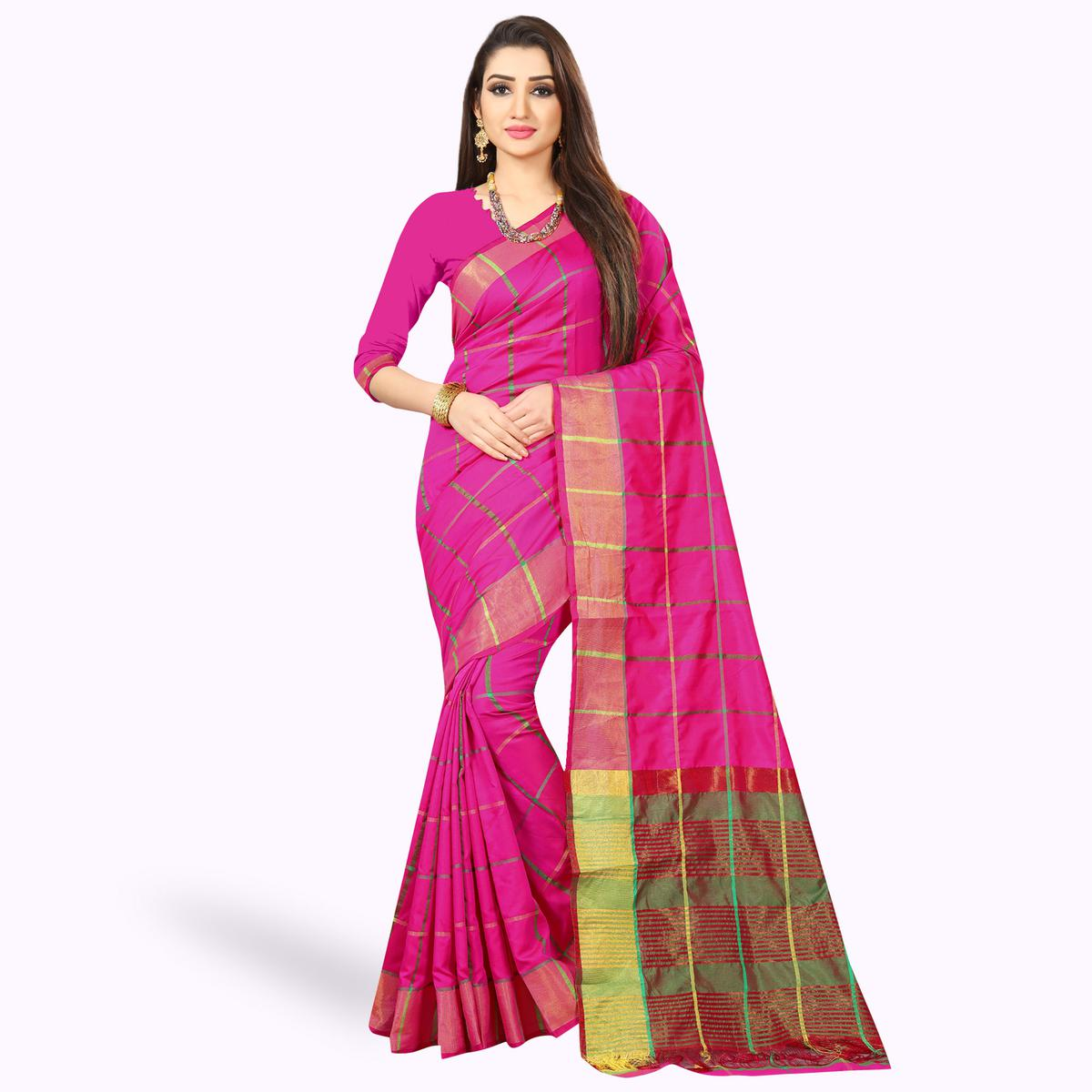 Groovy Pink Colored Festive Wear Woven Silk Saree