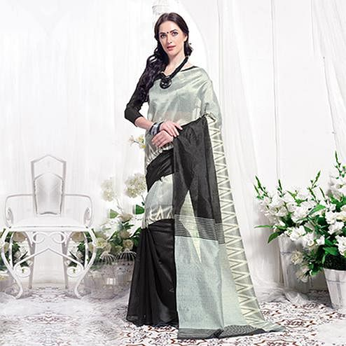 Gray-Black Casual Wear Printed Bhagalpuri Silk Saree