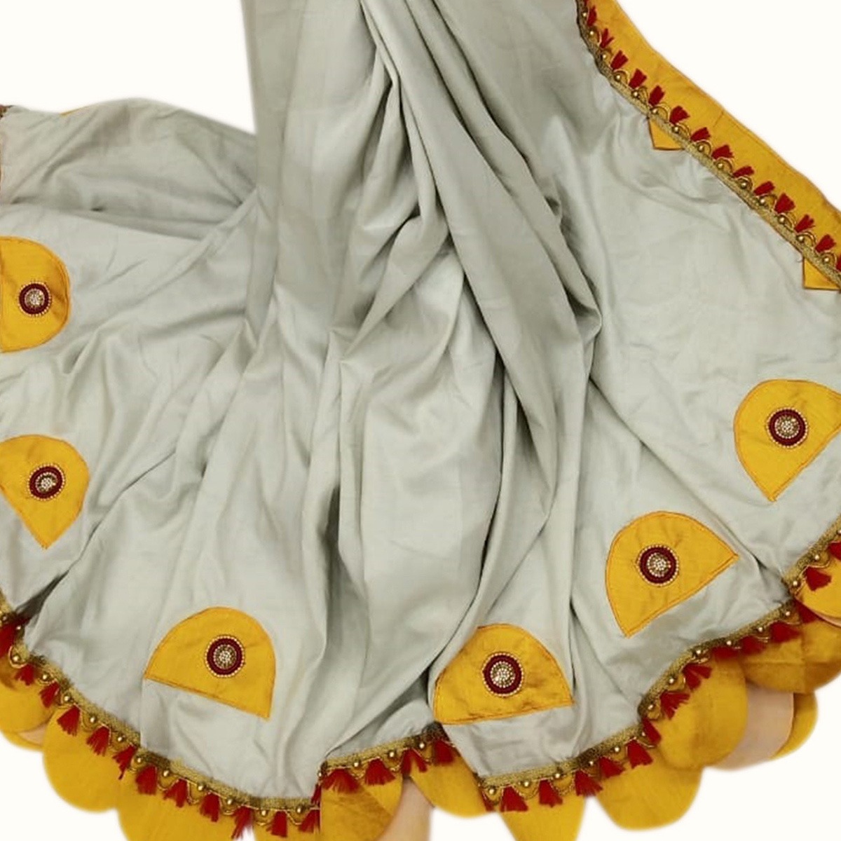 Elegant Gray Colored Party Wear Embroidered Art Silk Saree