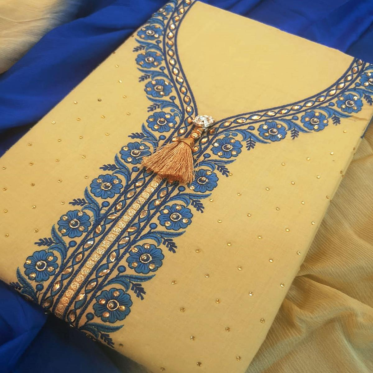 Glowing Beige-Blue Colored Partywear Embroidered Cotton Dress Material