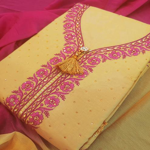 Gleaming Beige-Pink Colored Partywear Embroidered Cotton Dress Material