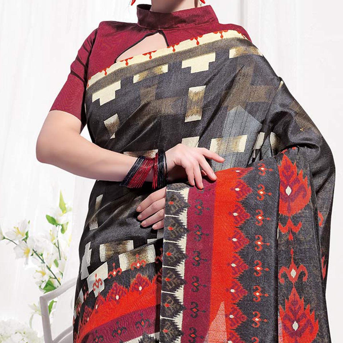 Black Casual Wear Printed Bhagalpuri Silk Saree