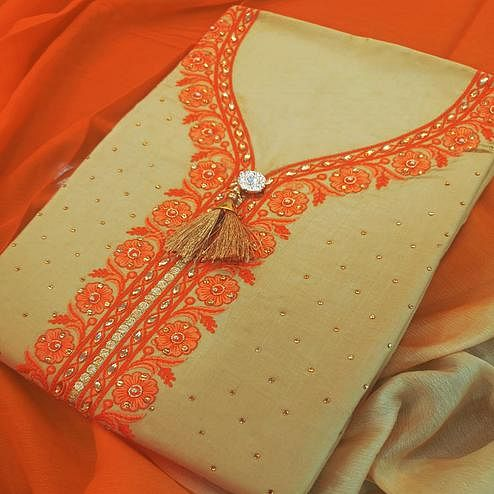 Refreshing Beige-Orange Colored Partywear Embroidered Cotton Dress Material