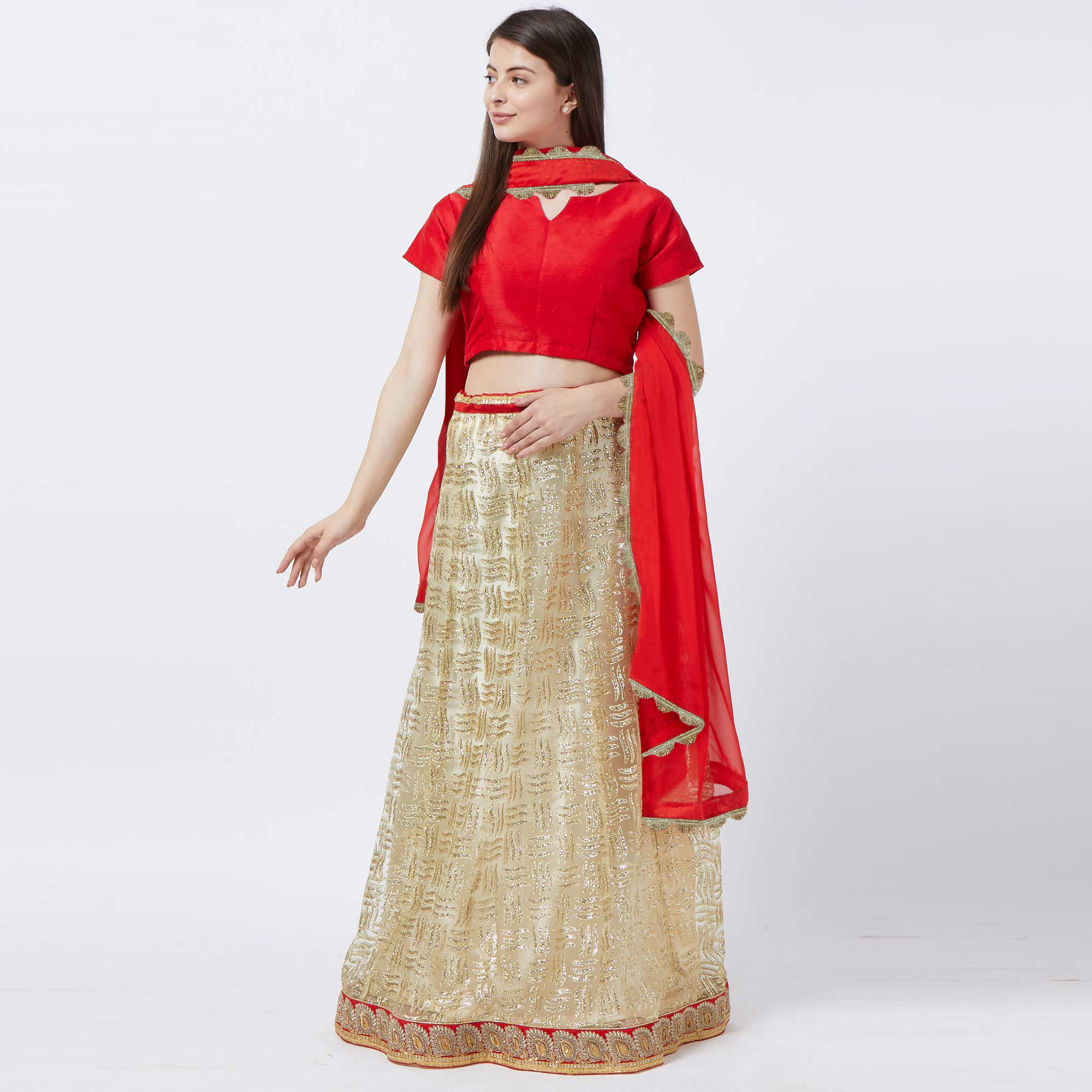 Marvellous Cream Colored Partywear Embroidered Netted Lehenga Choli