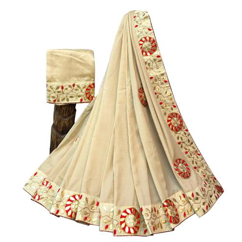 Glorious Beige Colored Partywear Embroidered Art Silk Saree