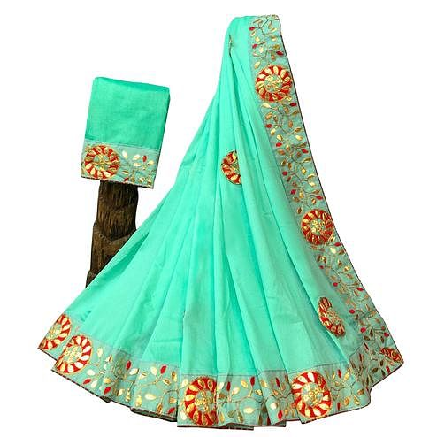 Attractive Aqua Green Colored Partywear Embroidered Art Silk Saree