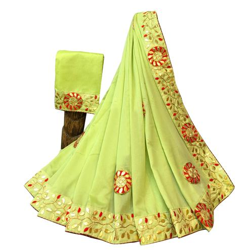 Desirable Lemon Green Colored Partywear Embroidered Art Silk Saree