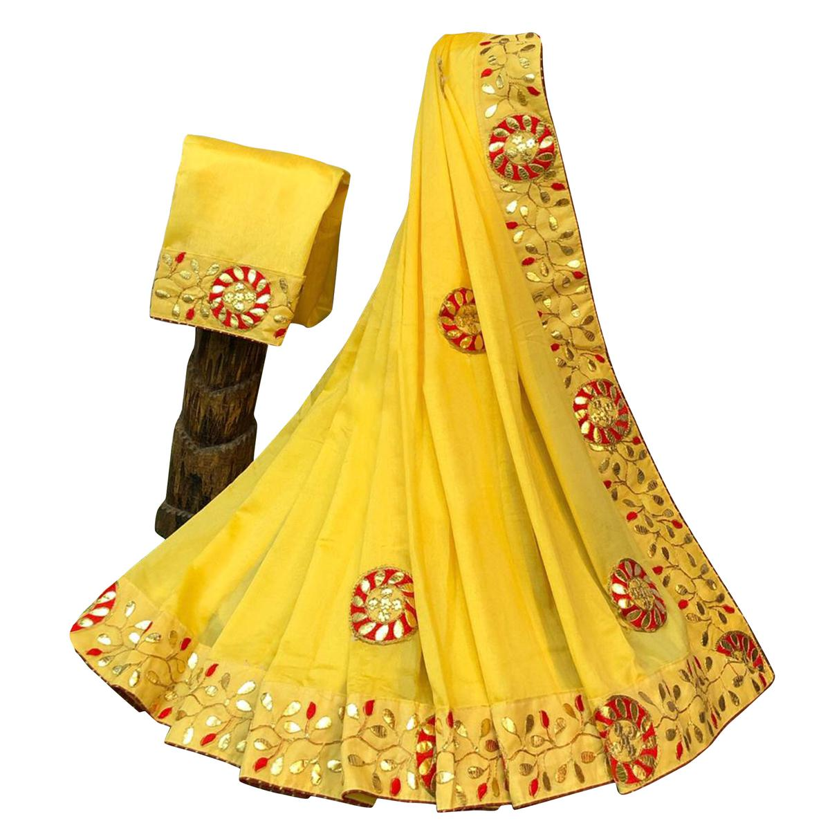 Graceful Yellow Colored Partywear Embroidered Art Silk Saree