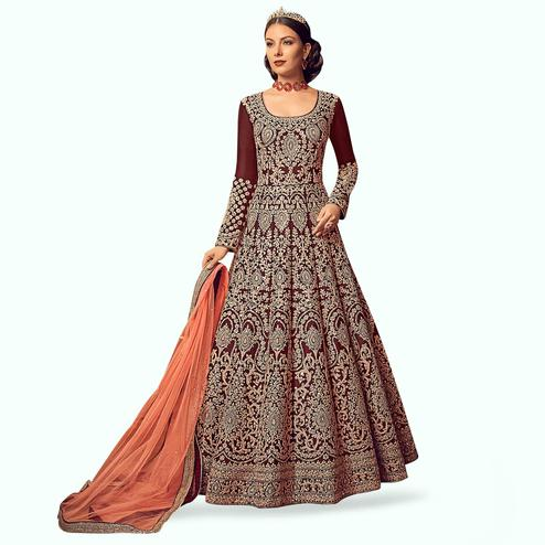 Stunning Maroon Colored Partywear Embroidered Art Silk Anarkali Suit