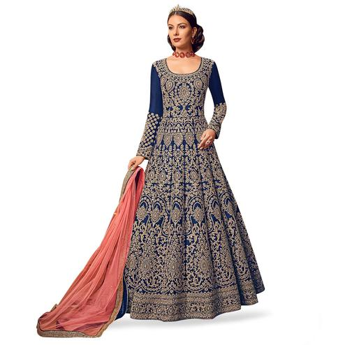 Marvellous Navy Blue Colored Partywear Embroidered Art Silk Anarkali Suit