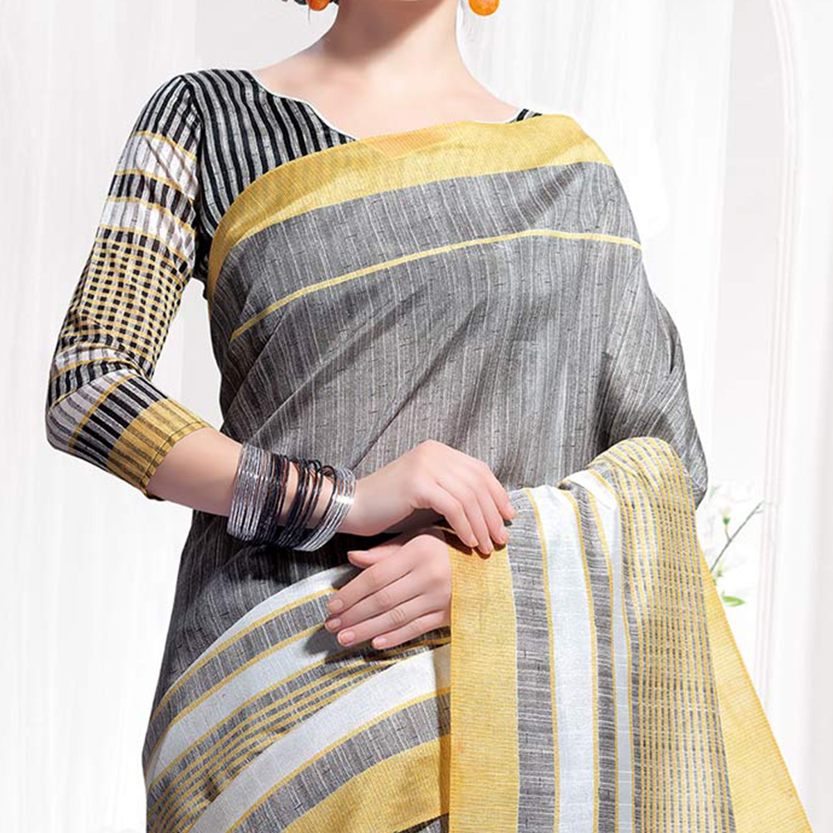 Gray-Yellow Casual Wear Printed Bhagalpuri Silk Saree