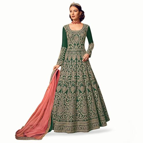 Classy Green Colored Partywear Embroidered Art Silk Anarkali Suit