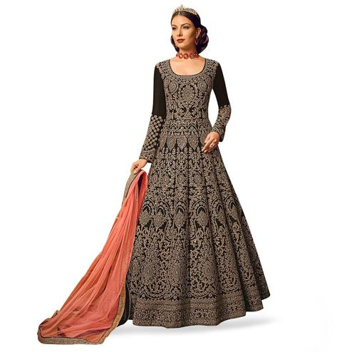 Fantastic Black Colored Partywear Embroidered Art Silk Anarkali Suit