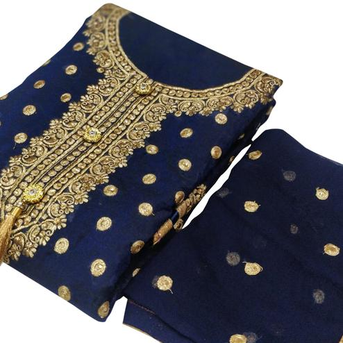 Adorable Navy Blue Colored Party Wear Embroidered Chanderi Silk Dress Material