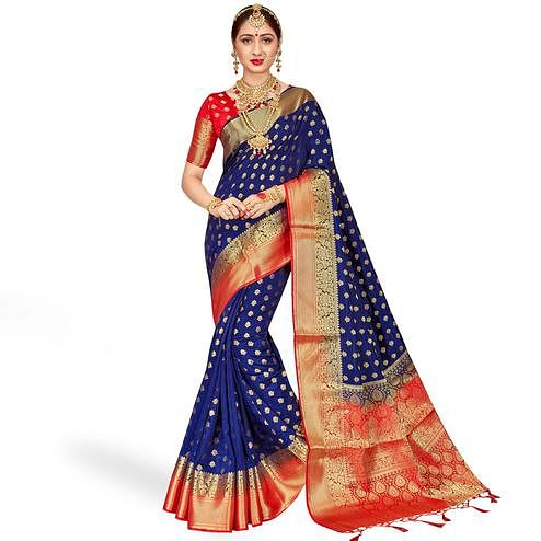 Pleasant Navy Blue Colored Festive Wear Banarasi Silk Saree