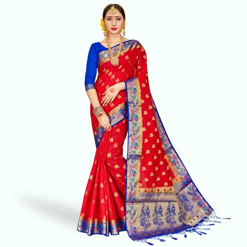 Opulent Red Colored Festive Wear Banarasi Silk Saree